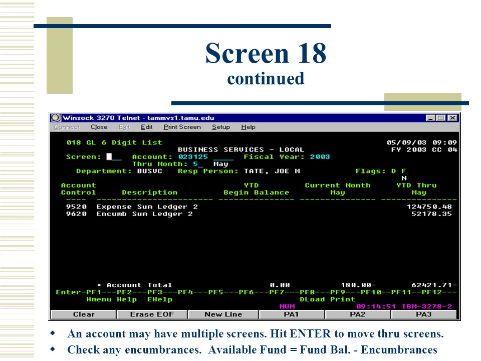 Screen 18 continued  An account may have multiple screens.