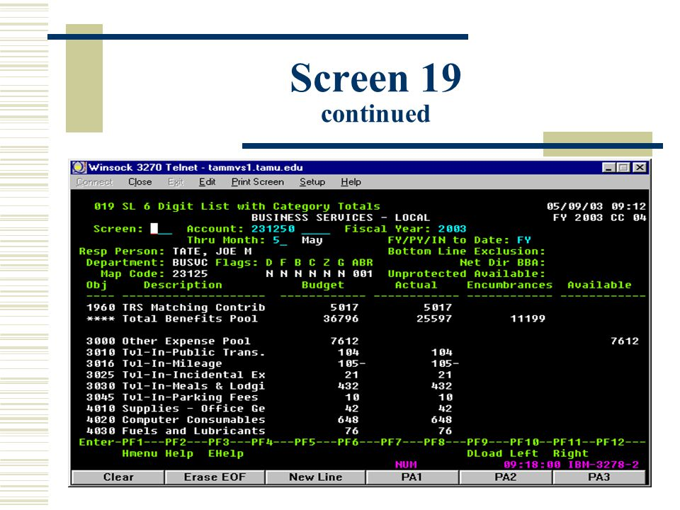 Screen 19 continued
