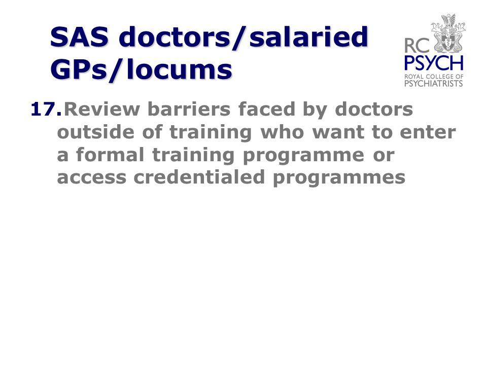 SAS doctors/salaried GPs/locums 17.