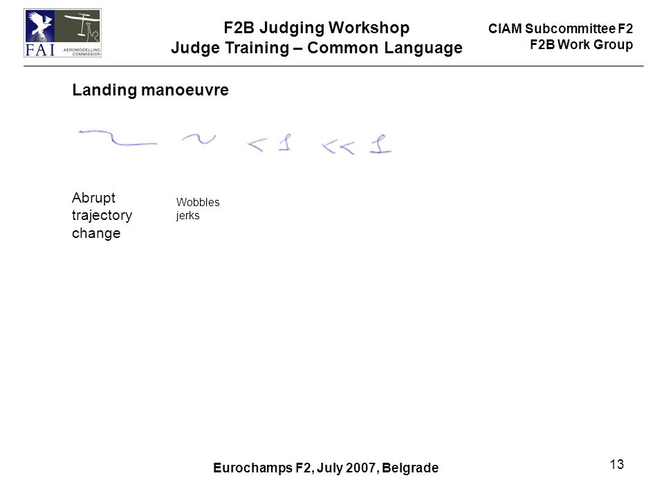 CIAM Subcommittee F2 F2B Work Group F2B Judging Workshop Judge Training – Common Language Eurochamps F2, July 2007, Belgrade 13 Landing manoeuvre Abrupt trajectory change Wobbles jerks
