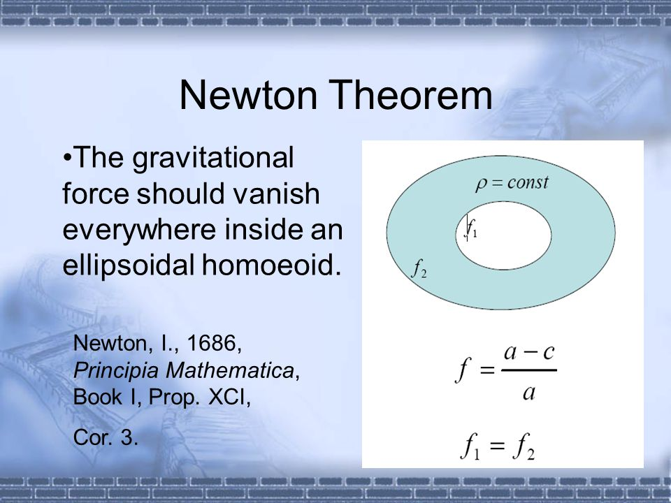 Newton Theorem The gravitational force should vanish everywhere inside an ellipsoidal homoeoid. Newton, I., 1686, Principia Mathematica, Book I, Prop.