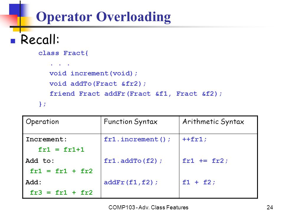 COMP103 - Adv.Class Features24 Operator Overloading Recall: class Fract{...