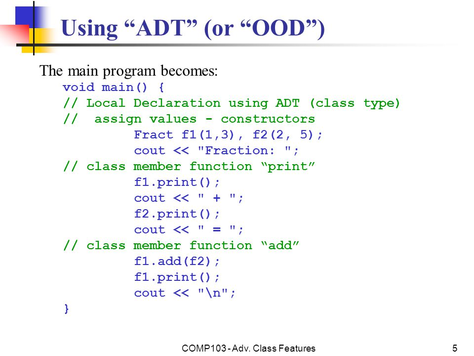 COMP103 - Adv.