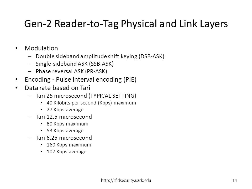 Gen-2 Reader-to-Tag Physical and Link Layers Modulation – Double sideband amplitude shift keying (DSB-ASK) – Single-sideband ASK (SSB-ASK) – Phase reversal ASK (PR-ASK) Encoding - Pulse interval encoding (PIE) Data rate based on Tari – Tari 25 microsecond (TYPICAL SETTING) 40 Kilobits per second (Kbps) maximum 27 Kbps average – Tari 12.5 microsecond 80 Kbps maximum 53 Kbps average – Tari 6.25 microsecond 160 Kbps maximum 107 Kbps average http://rfidsecurity.uark.edu 14