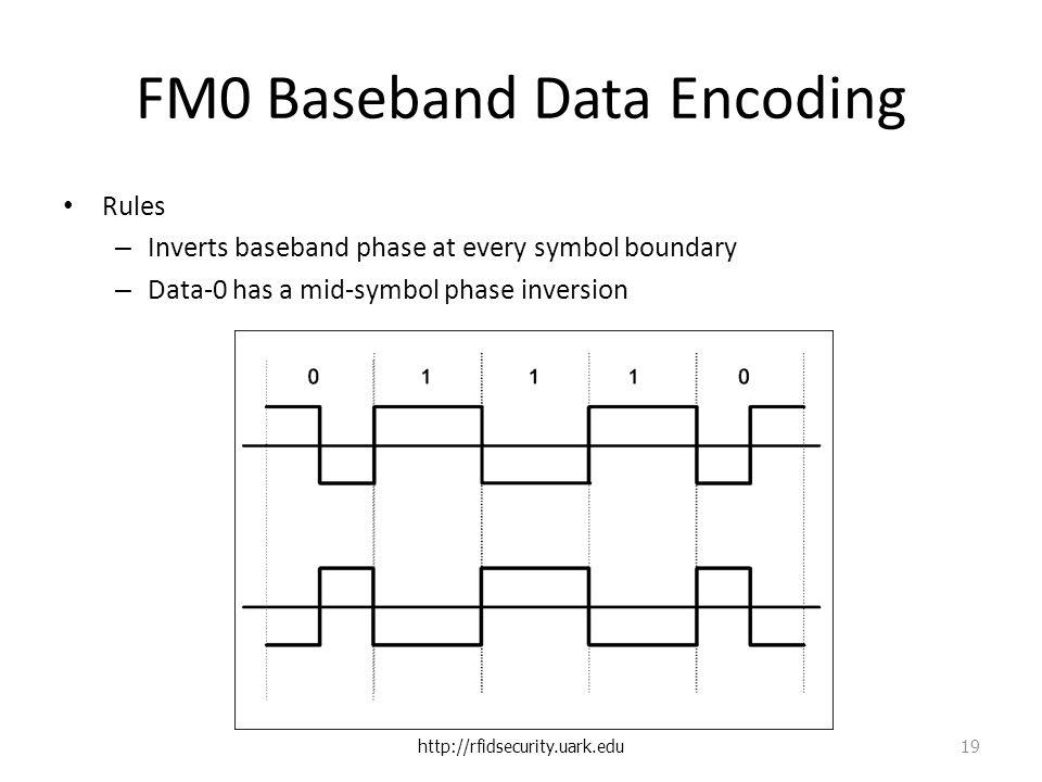FM0 Baseband Data Encoding Rules – Inverts baseband phase at every symbol boundary – Data-0 has a mid-symbol phase inversion http://rfidsecurity.uark.edu 19
