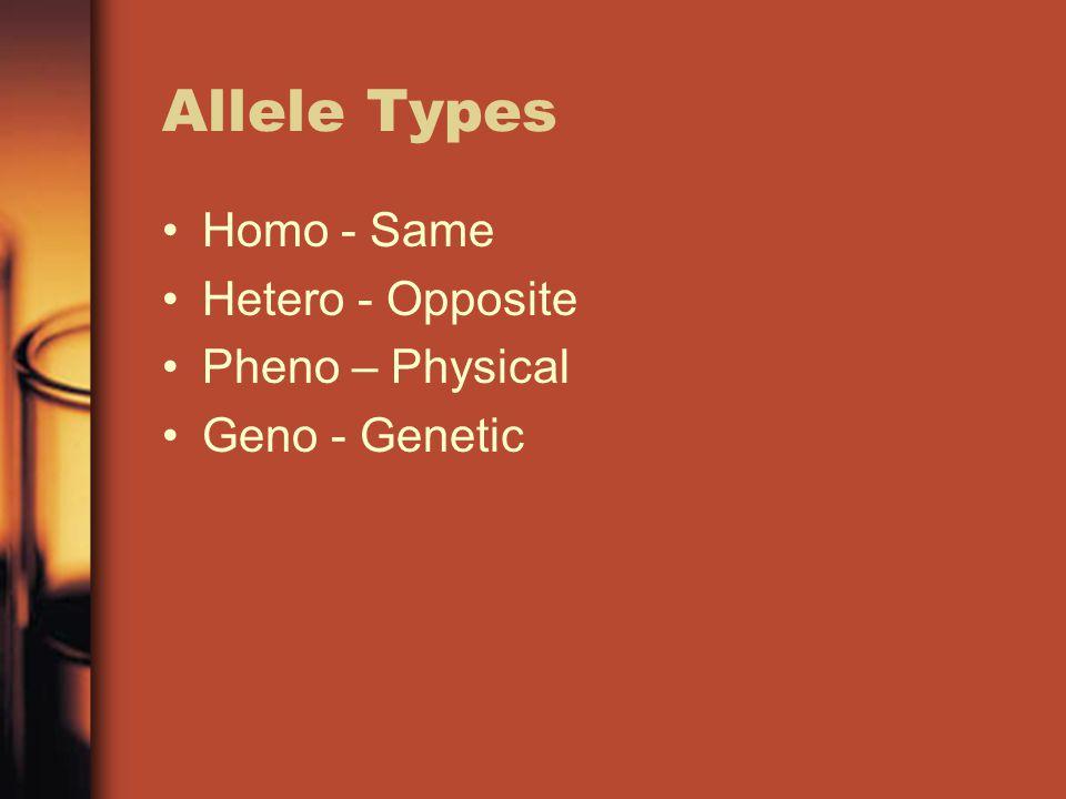 Allele Types Homo - Same Hetero - Opposite Pheno – Physical Geno - Genetic