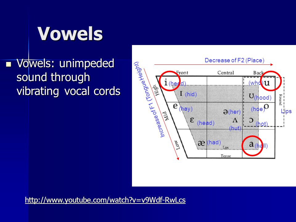 (heed) (hid) (hay) (head) (had) (hall) (hoe) (hood) (who) (hot) (hut) (her) Decrease of F2 (Place) Increase of F1 (Tongue Height) Vowels Vowels: unimpeded sound through vibrating vocal cords Vowels: unimpeded sound through vibrating vocal cords Lips http://www.youtube.com/watch v=v9Wdf-RwLcs