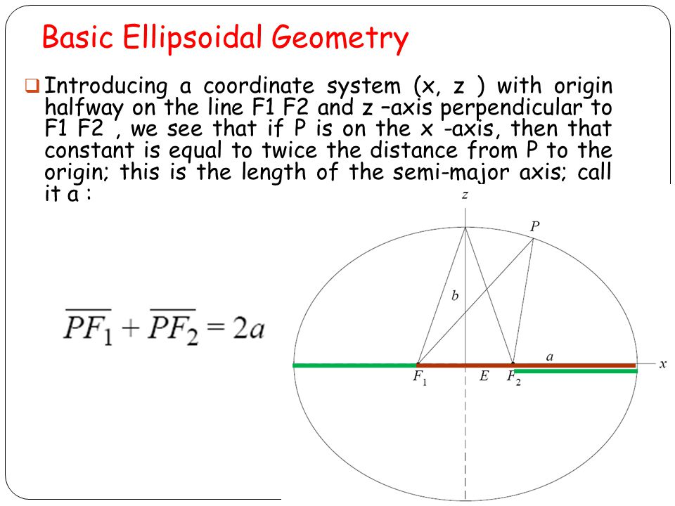 Basic Ellipsoidal Geometry Moving the point, P, to the z -axis, and letting the distance from the origin point to either focal point (F1 or F2 ) be E, we also find that E is called the linear eccentricity of the ellipse (and of the ellipsoid).
