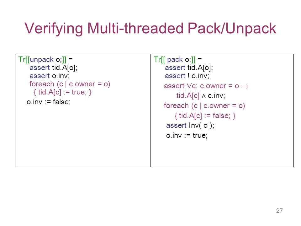 27 Verifying Multi-threaded Pack/Unpack Tr[[ pack o;]] = assert tid.A[o]; assert .