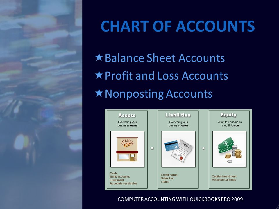 CHART OF ACCOUNTS  Balance Sheet Accounts  Profit and Loss Accounts  Nonposting Accounts COMPUTER ACCOUNTING WITH QUICKBOOKS PRO 2009