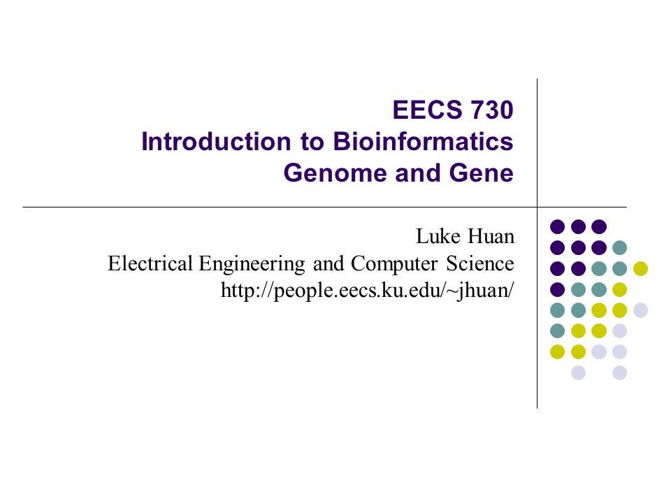EECS 730 Introduction to Bioinformatics Genome and Gene Luke Huan Electrical Engineering and Computer Science http://people.eecs.ku.edu/~jhuan/