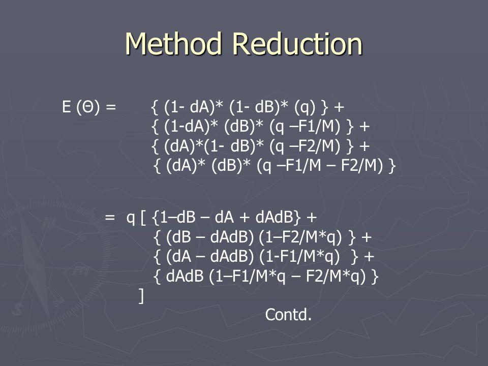 Method Reduction E (Θ) = { (1- dA)* (1- dB)* (q) } + { (1-dA)* (dB)* (q –F1/M) } + { (dA)*(1- dB)* (q –F2/M) } + { (dA)* (dB)* (q –F1/M – F2/M) } = q [ {1–dB – dA + dAdB} + { (dB – dAdB) (1–F2/M*q) } + { (dA – dAdB) (1-F1/M*q) } + { dAdB (1–F1/M*q – F2/M*q) } ] Contd.