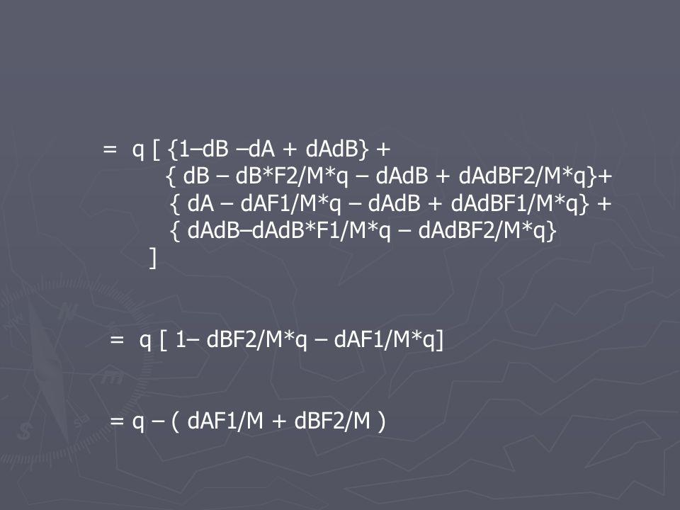 = q [ {1–dB –dA + dAdB} + { dB – dB*F2/M*q – dAdB + dAdBF2/M*q}+ { dA – dAF1/M*q – dAdB + dAdBF1/M*q} + { dAdB–dAdB*F1/M*q – dAdBF2/M*q} ] = q [ 1– dBF2/M*q – dAF1/M*q] = q – ( dAF1/M + dBF2/M )