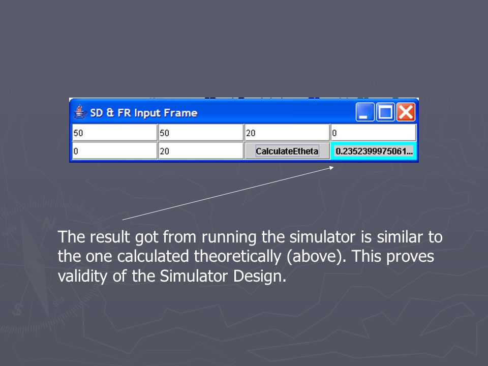 The result got from running the simulator is similar to the one calculated theoretically (above).