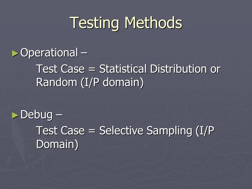 Testing Methods ► Operational – Test Case = Statistical Distribution or Random (I/P domain) ► Debug – Test Case = Selective Sampling (I/P Domain)