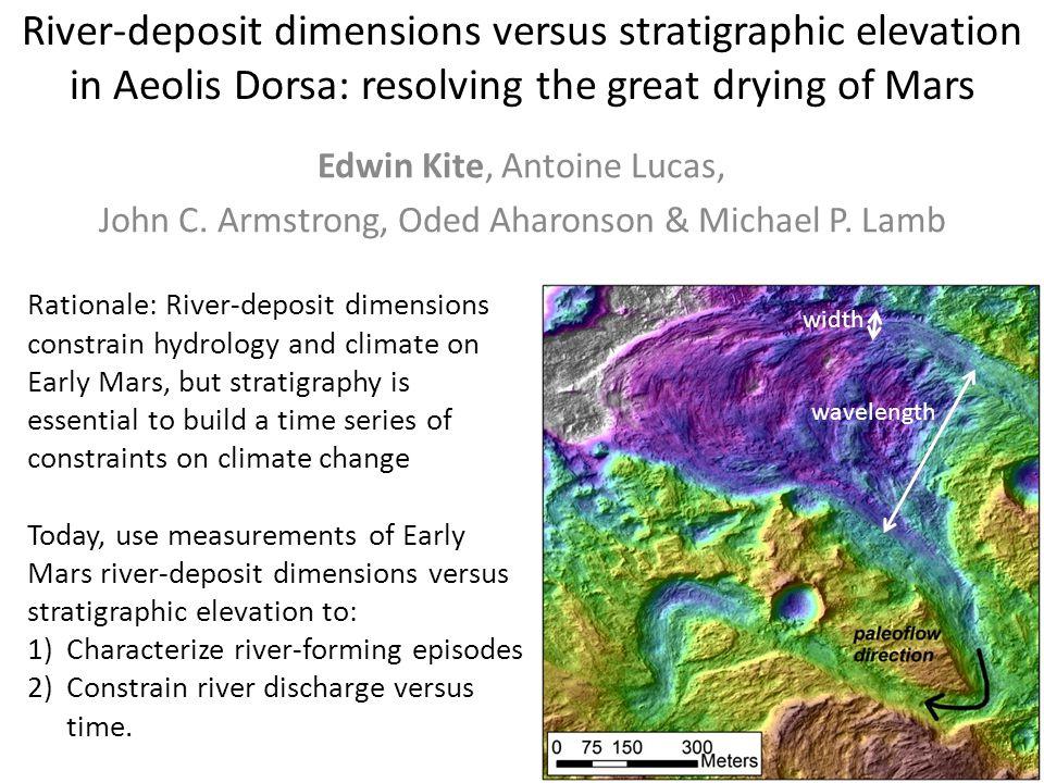 River-deposit dimensions versus stratigraphic elevation in Aeolis Dorsa: resolving the great drying of Mars Edwin Kite, Antoine Lucas, John C. Armstro