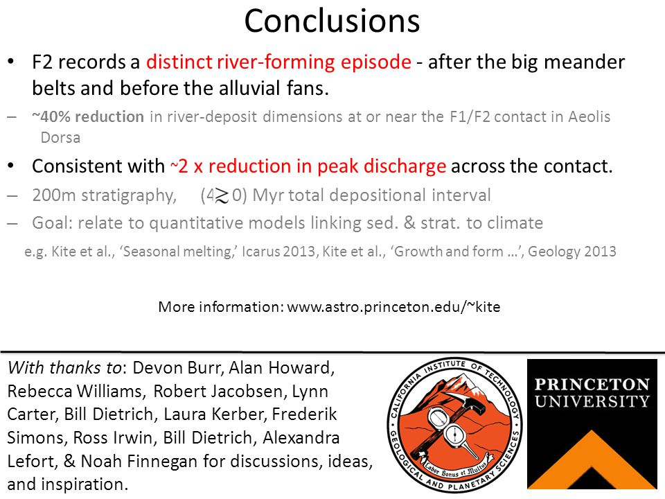 Conclusions F2 records a distinct river-forming episode - after the big meander belts and before the alluvial fans.