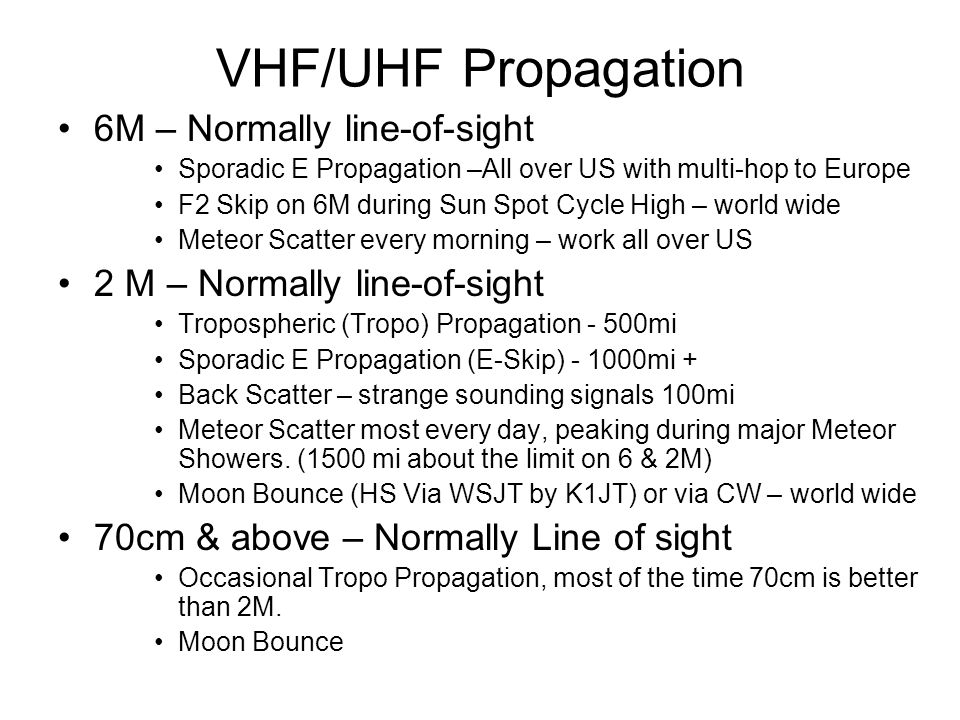 VHF/UHF Propagation 6M – Normally line-of-sight Sporadic E Propagation –All over US with multi-hop to Europe F2 Skip on 6M during Sun Spot Cycle High