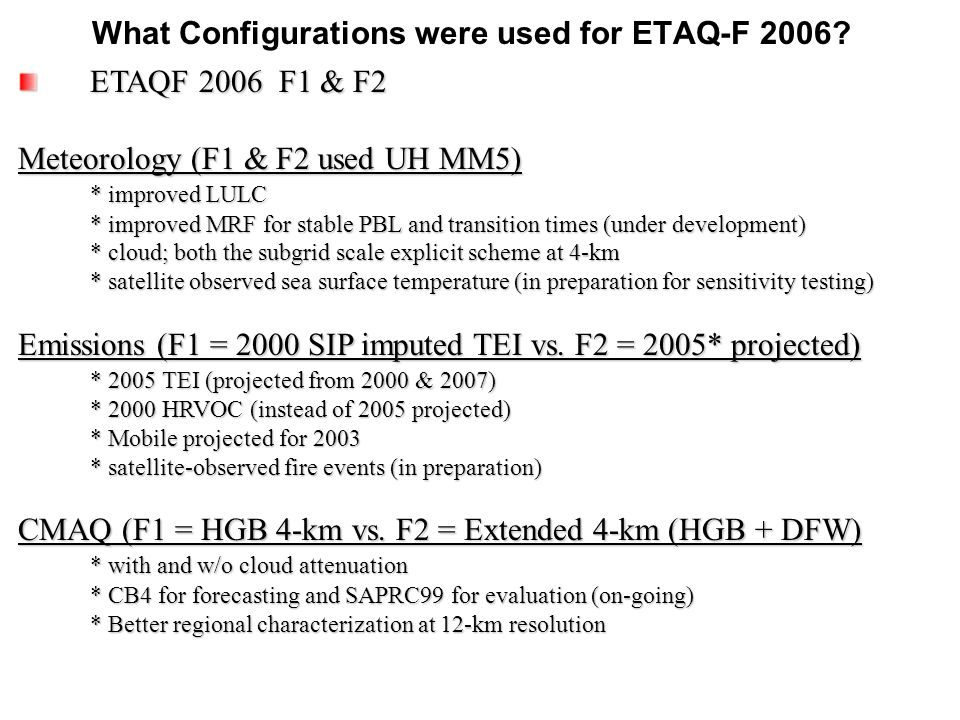 What Configurations were used for ETAQ-F 2006.