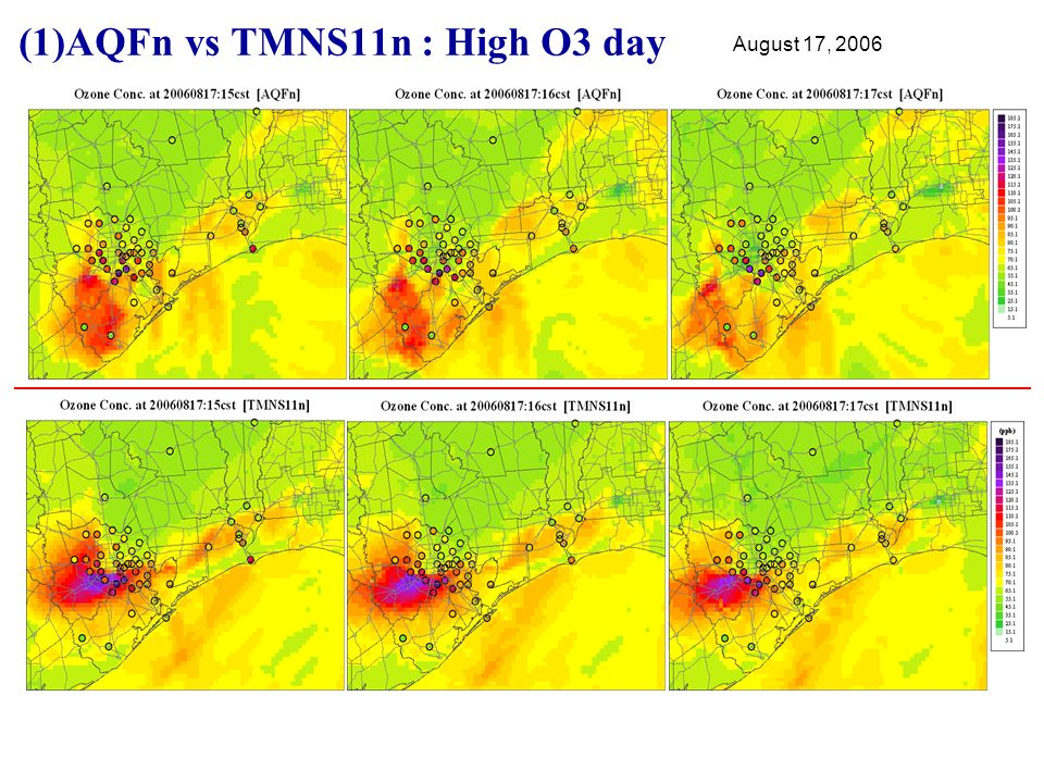 (1)AQFn vs TMNS11n : High O3 day August 17, 2006