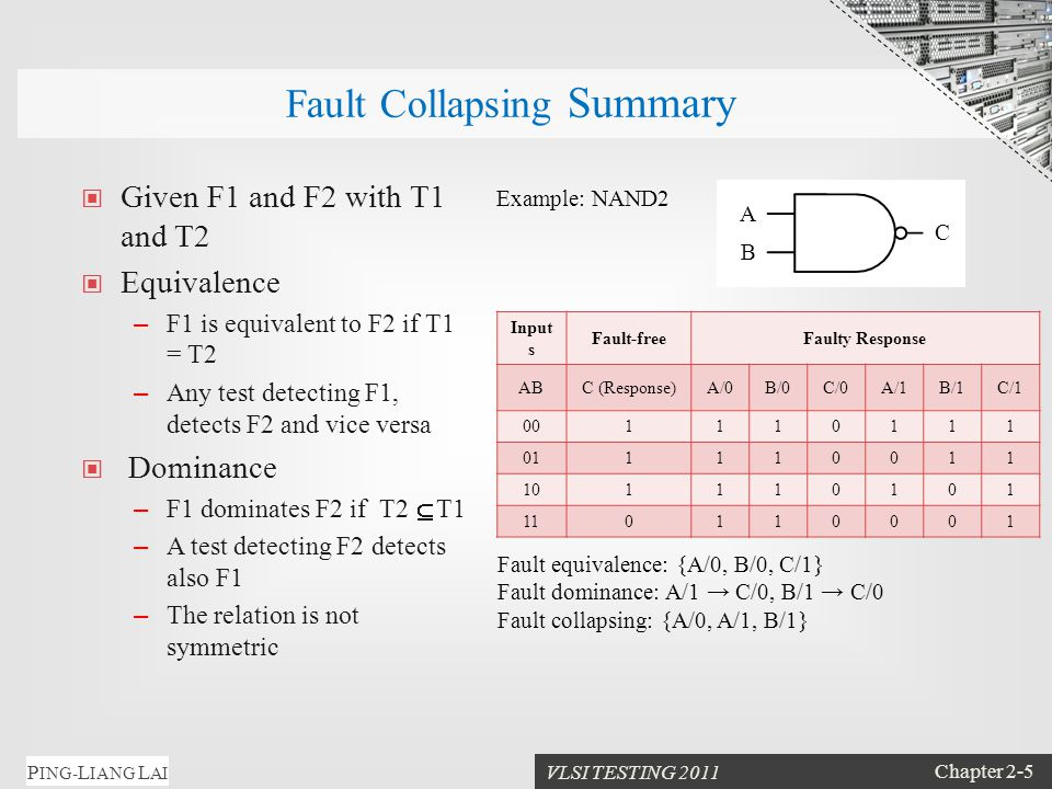 VLSI TESTING 2011 Chapter 2-5 P ING- L IANG L AI Fault Collapsing Summary Given F1 and F2 with T1 and T2 Equivalence – F1 is equivalent to F2 if T1 = T2 – Any test detecting F1, detects F2 and vice versa Dominance – F1 dominates F2 if T2  T1 – A test detecting F2 detects also F1 – The relation is not symmetric Input s Fault-freeFaulty Response ABC (Response)A/0B/0C/0A/1B/1C/1 001110111 011110011 101110101 110110001 A B C Example: NAND2 Fault equivalence: {A/0, B/0, C/1} Fault dominance: A/1 → C/0, B/1 → C/0 Fault collapsing: {A/0, A/1, B/1}