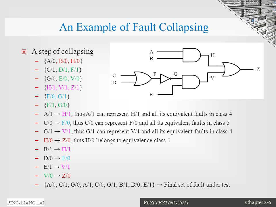 VLSI TESTING 2011 Chapter 2-6 P ING- L IANG L AI An Example of Fault Collapsing A step of collapsing – {A/0, B/0, H/0} – {C/1, D/1, F/1} – {G/0, E/0, V/0} – {H/1, V/1, Z/1} – {F/0, G/1} – {F/1, G/0} – A/1 → H/1, thus A/1 can represent H/1 and all its equivalent faults in class 4 – C/0 → F/0, thus C/0 can represent F/0 and all its equivalent faults in class 5 – G/1 → V/1, thus G/1 can represent V/1 and all its equivalent faults in class 4 – H/0 → Z/0, thus H/0 belongs to equivalence class 1 – B/1 → H/1 – D/0 → F/0 – E/1 → V/1 – V/0 → Z/0 – {A/0, C/1, G/0, A/1, C/0, G/1, B/1, D/0, E/1} → Final set of fault under test A B V D C F E G Z H