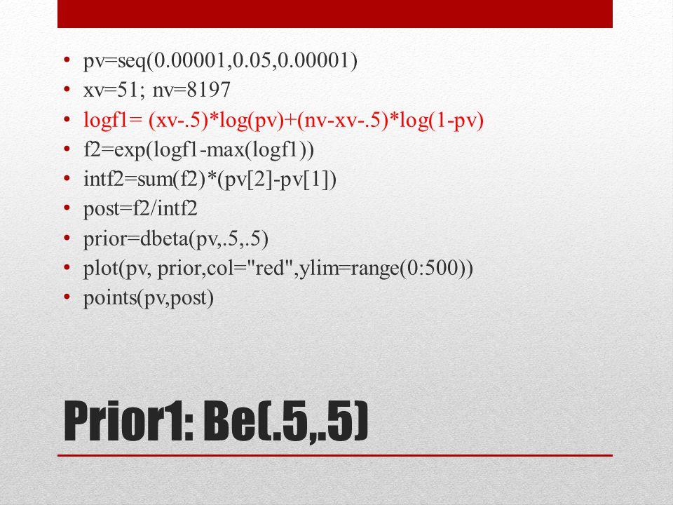 Prior1: Be(.5,.5) pv=seq(0.00001,0.05,0.00001) xv=51; nv=8197 logf1= (xv-.5)*log(pv)+(nv-xv-.5)*log(1-pv) f2=exp(logf1-max(logf1)) intf2=sum(f2)*(pv[2]-pv[1]) post=f2/intf2 prior=dbeta(pv,.5,.5) plot(pv, prior,col= red ,ylim=range(0:500)) points(pv,post)
