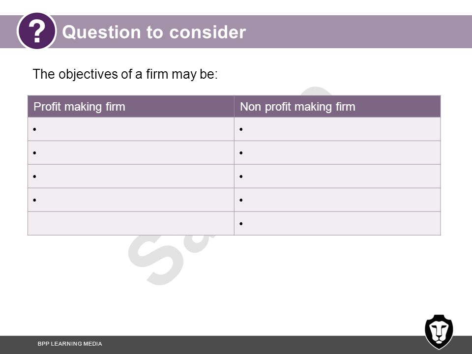BPP LEARNING MEDIA Sample Question to consider The objectives of a firm may be: Profit making firmNon profit making firm