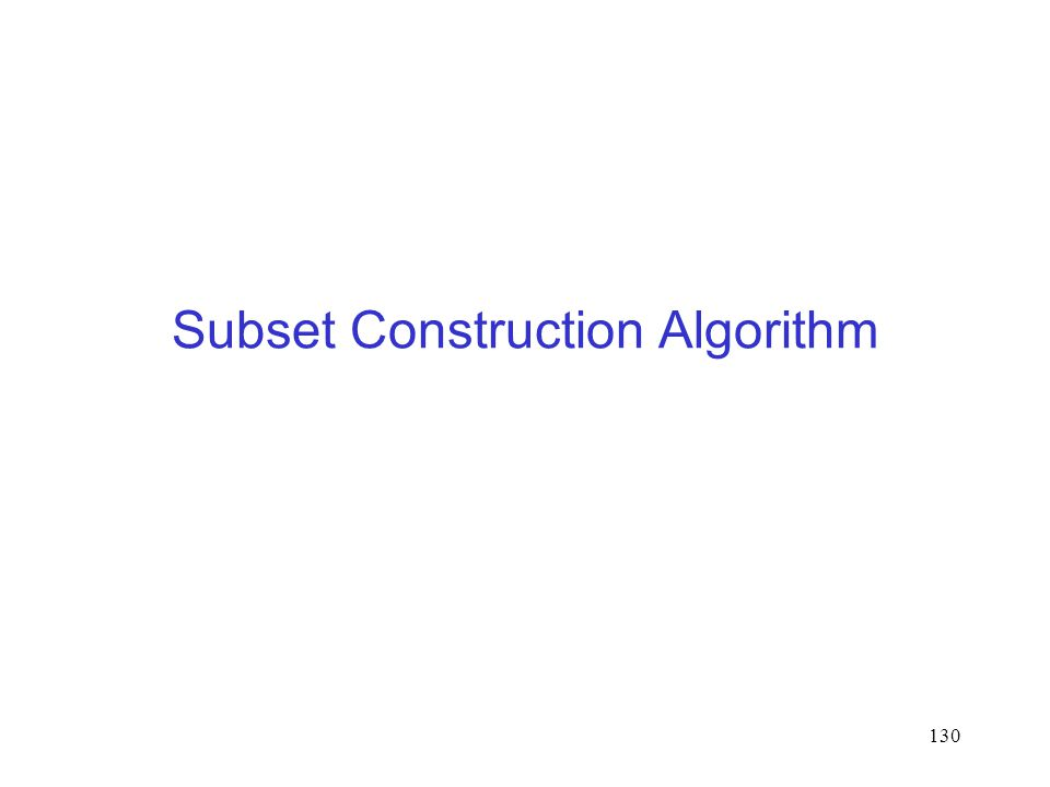 130 Subset Construction Algorithm