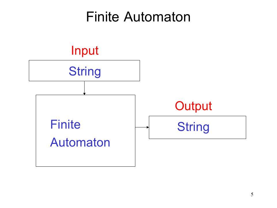 5 Finite Automaton Input String Output String Finite Automaton