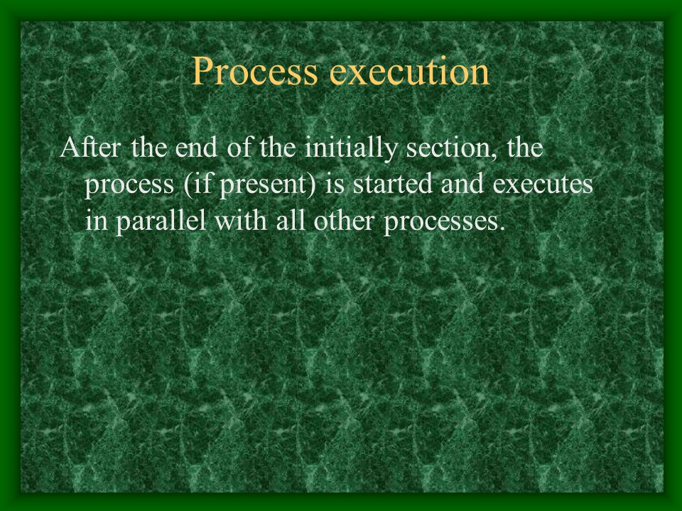Process execution After the end of the initially section, the process (if present) is started and executes in parallel with all other processes.