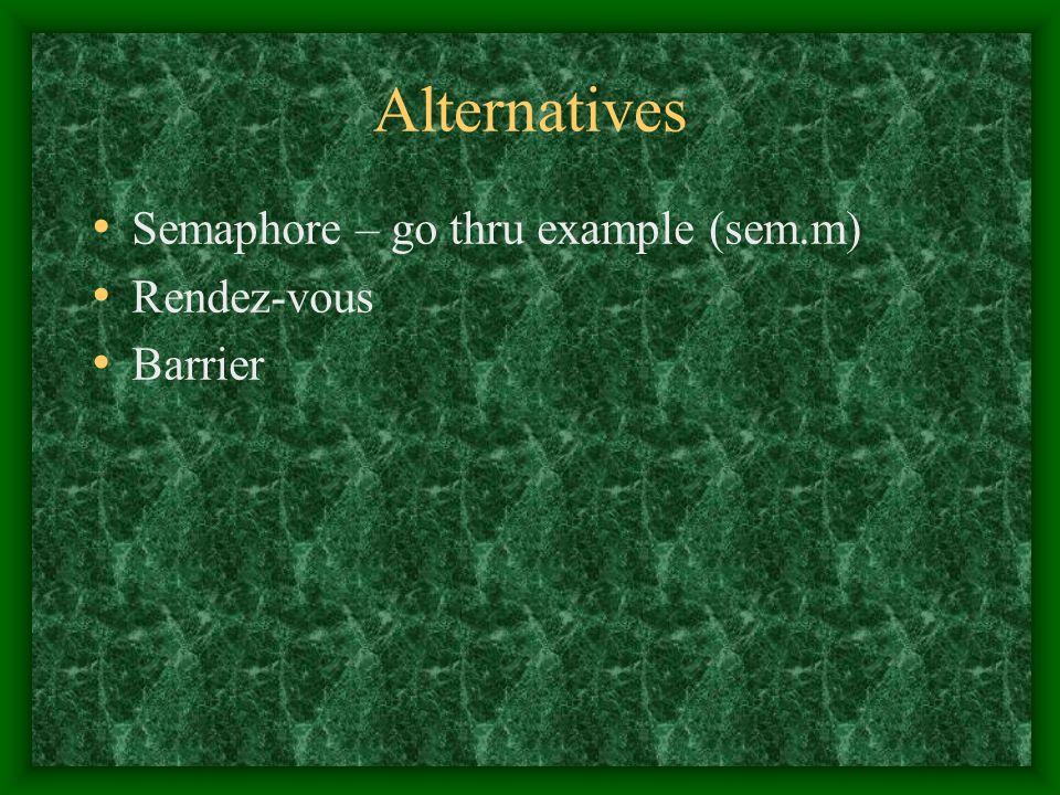 Alternatives Semaphore – go thru example (sem.m) Rendez-vous Barrier