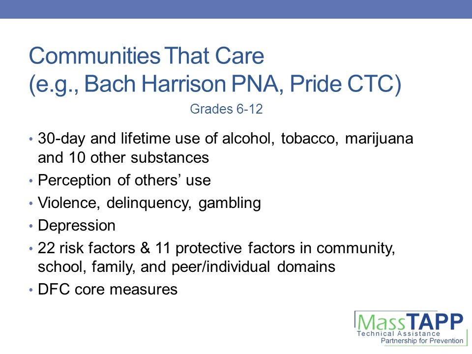 Communities That Care (e.g., Bach Harrison PNA, Pride CTC) 30-day and lifetime use of alcohol, tobacco, marijuana and 10 other substances Perception of others' use Violence, delinquency, gambling Depression 22 risk factors & 11 protective factors in community, school, family, and peer/individual domains DFC core measures Grades 6-12