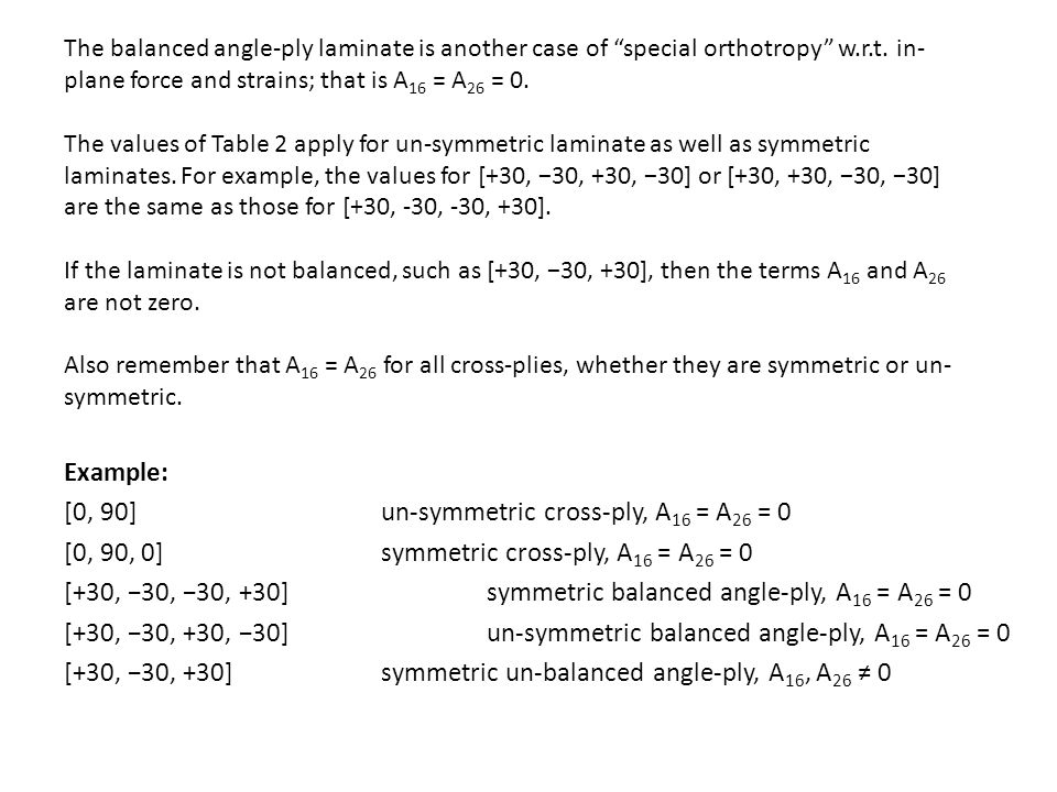 The balanced angle-ply laminate is another case of special orthotropy w.r.t.