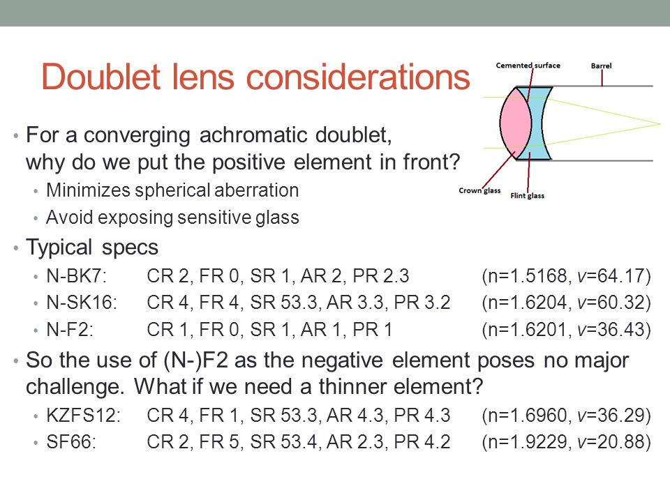 Doublet lens considerations For a converging achromatic doublet, why do we put the positive element in front.