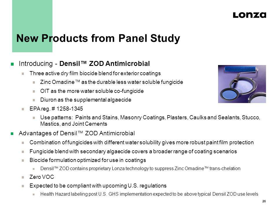 26 New Products from Panel Study n Introducing - Densil™ ZOD Antimicrobial n Three active dry film biocide blend for exterior coatings n Zinc Omadine™ as the durable less water soluble fungicide n OIT as the more water soluble co-fungicide n Diuron as the supplemental algaecide n EPA reg.