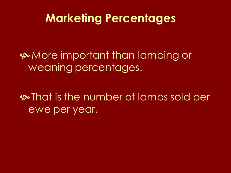 Marketing Percentages  More important than lambing or weaning percentages.