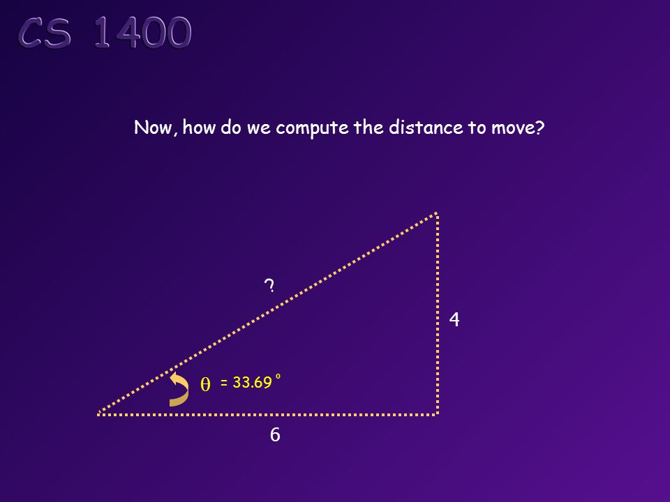6 4 Now, how do we compute the distance to move θ = 33.69 o