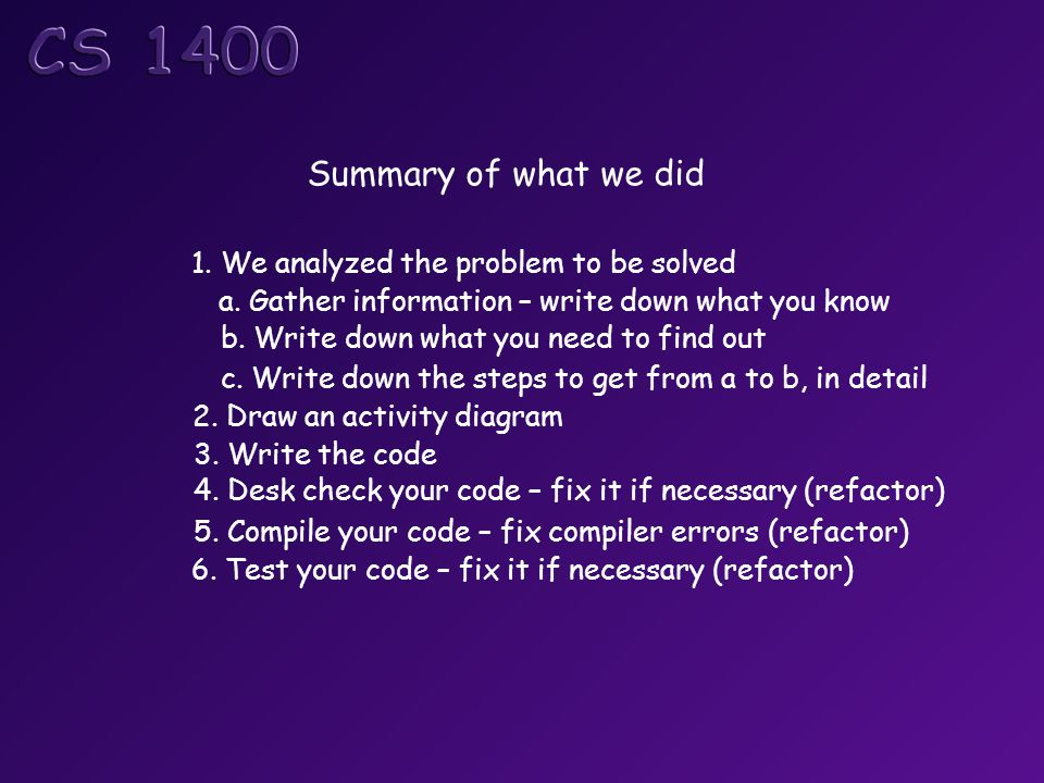 Summary of what we did 1. We analyzed the problem to be solved a.