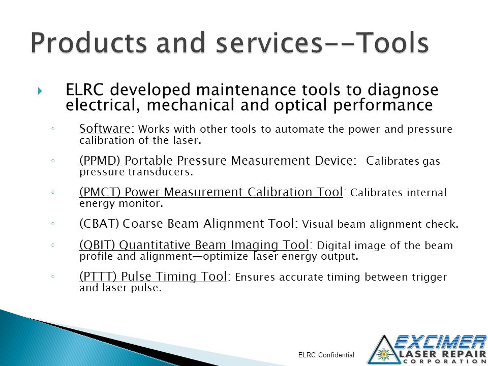 ELRC software interface Software calculates offsets and configurable settings then automatically updates laser with new values.