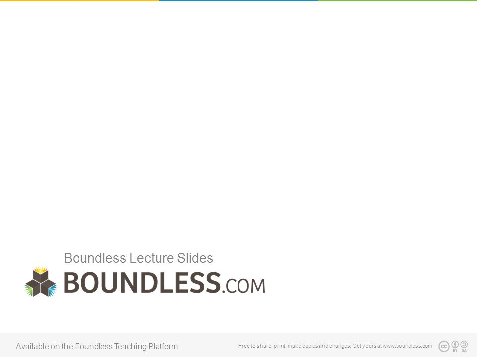 Boundless Lecture Slides Free to share, print, make copies and changes. Get yours at www.boundless.com Available on the Boundless Teaching Platform