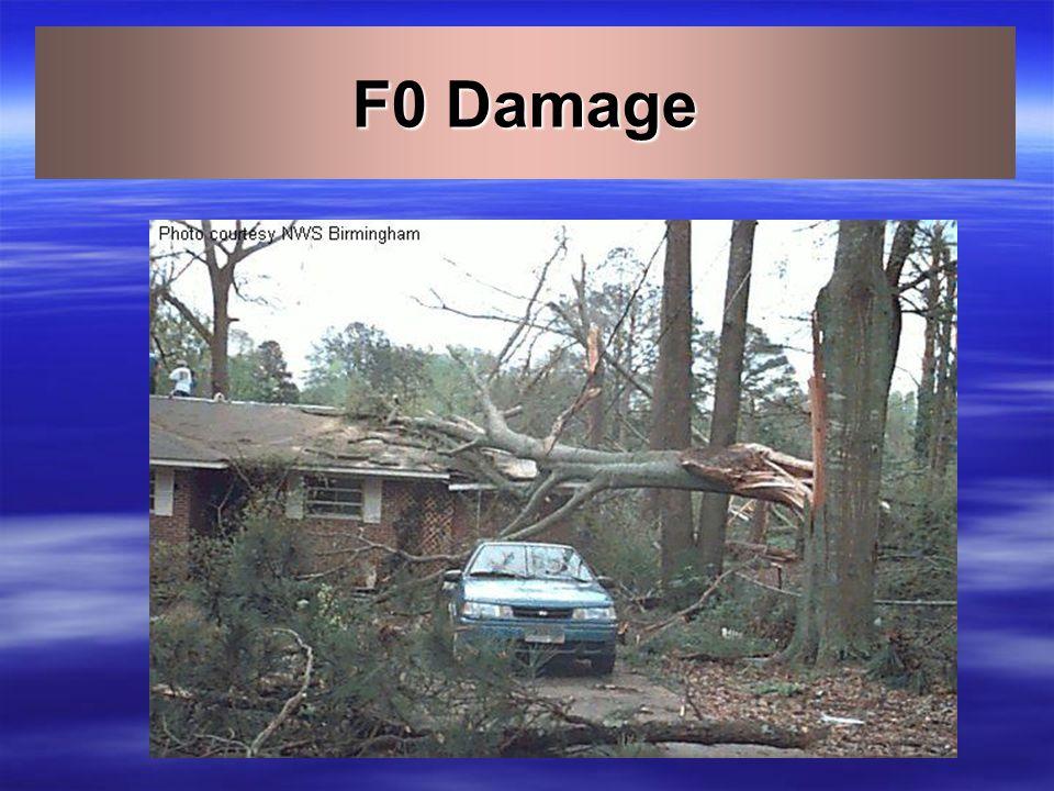 Fujita Tornado Damage Scale Scale Wind Estimate (MPH) Typical Damage F0 < 73 Light – Some damage to chimneys, branches broken, signs damaged. F173-112