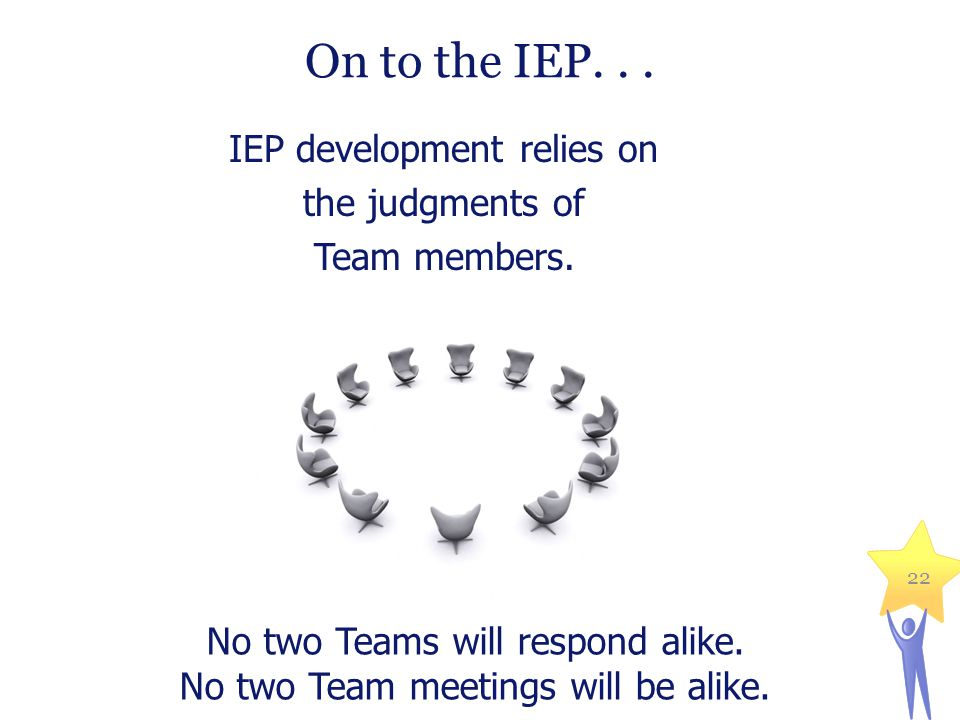 On to the IEP...IEP development relies on the judgments of Team members.