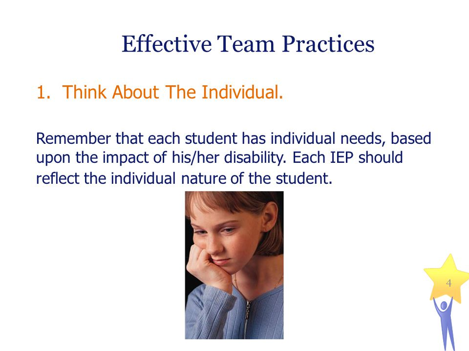 Effective Team Practices 1.Think About The Individual.