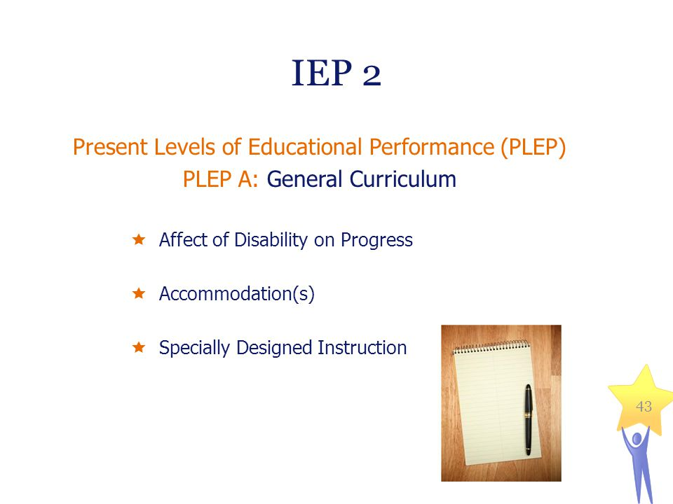 IEP 2 Present Levels of Educational Performance (PLEP) PLEP A: General Curriculum  Affect of Disability on Progress  Accommodation(s)  Specially Designed Instruction 43