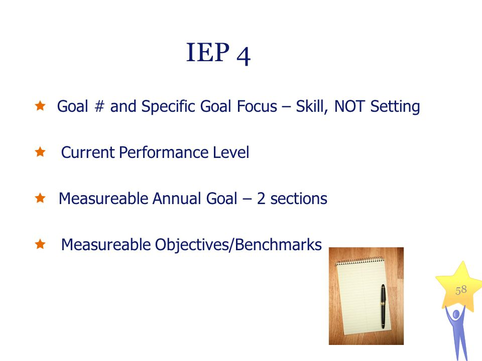 IEP 4  Goal # and Specific Goal Focus – Skill, NOT Setting  Current Performance Level  Measureable Annual Goal – 2 sections  Measureable Objective