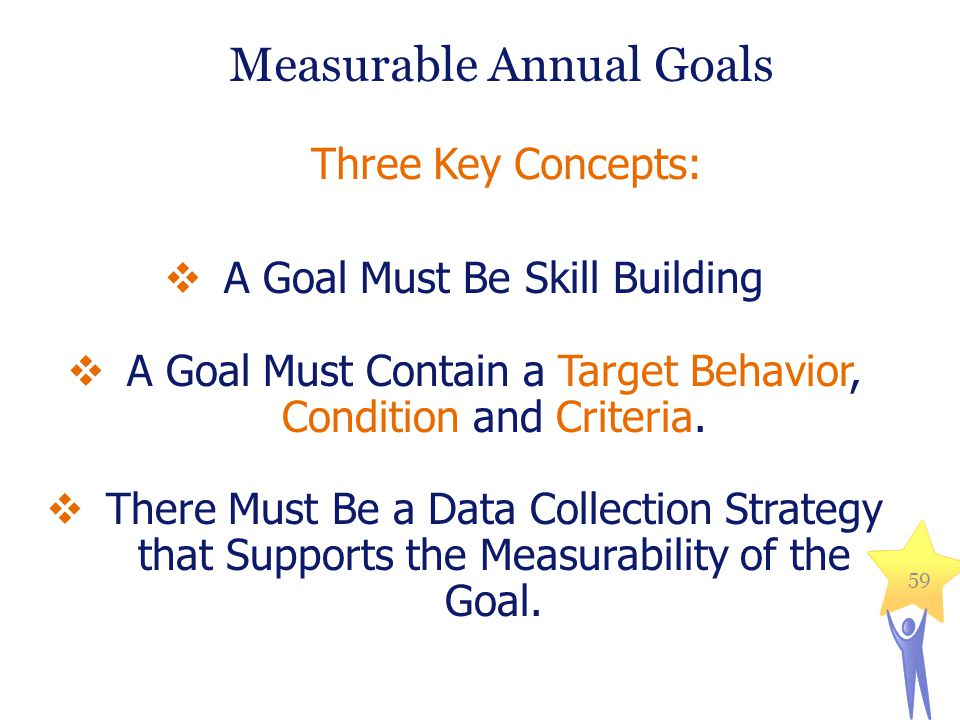  A Goal Must Be Skill Building  A Goal Must Contain a Target Behavior, Condition and Criteria.  There Must Be a Data Collection Strategy that Suppo