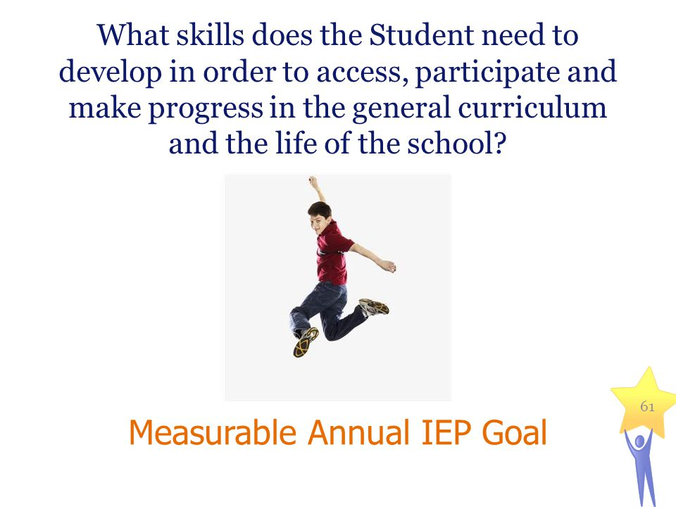 What skills does the Student need to develop in order to access, participate and make progress in the general curriculum and the life of the school? M