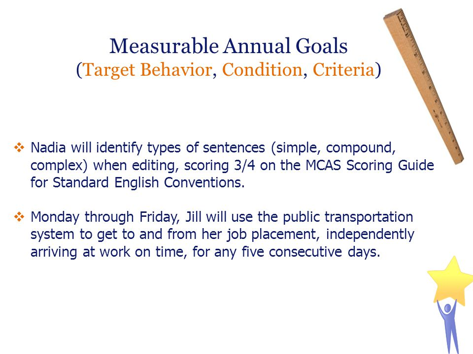 Measurable Annual Goals (Target Behavior, Condition, Criteria)  Nadia will identify types of sentences (simple, compound, complex) when editing, scor