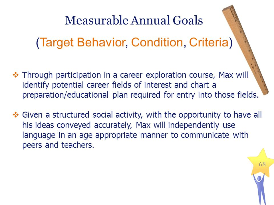 Measurable Annual Goals (Target Behavior, Condition, Criteria) 68  Through participation in a career exploration course, Max will identify potential career fields of interest and chart a preparation/educational plan required for entry into those fields.
